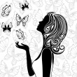 Silhouette of young woman with flying butterflies — Stock Vector