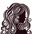 Silhouette of a young lady with luxurious hair — Stock Vector