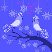 Two winter birds in love — Stock Vector