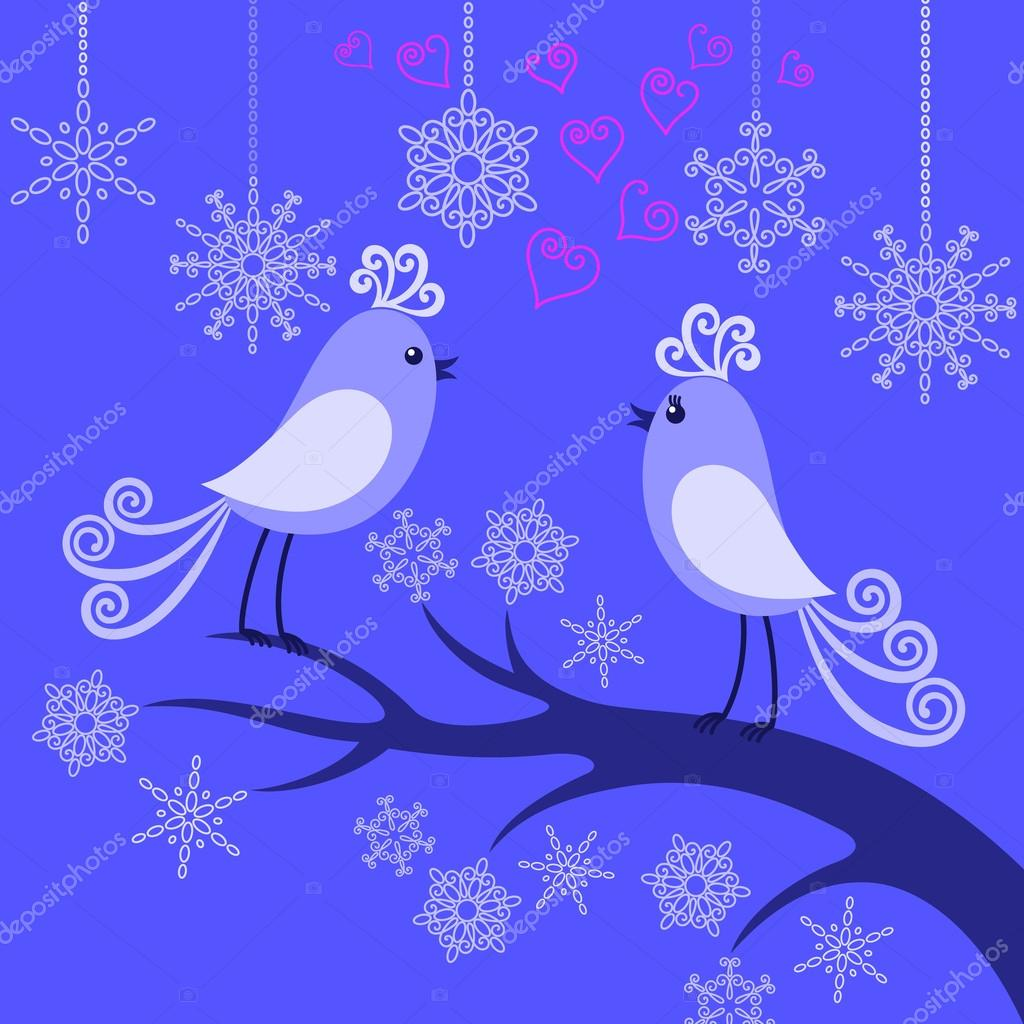 Two winter enamored birds on a branch among snowflakes — Stock Vector #18124051