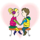 A happy teens couple in love — Stock Vector