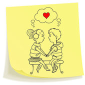 Sticky note with drawn teens couple in love — Stock Vector