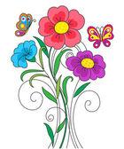 Ilustración de flor de kidstyle — Vector de stock