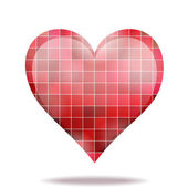 Abstract scarlet mosaic 3D heart icon — Stock Vector