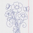 kidstyle flower sketch on the paper sheet — Stock Vector