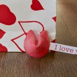Valentine Fortune cookie saying I love you — Stok fotoğraf #39073139