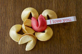 """Red fortune cookie """"I LOVE YOU"""" — Stock Photo"""