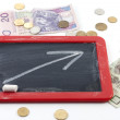 Stock Photo: Increase arrow up on blackboard with polish money