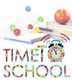 Time to back to school letters with alarm clock — Stock Photo