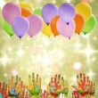 Royalty-Free Stock Photo: Child painted hands and balloons happy birthday party