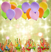 Child painted hands and balloons happy birthday party — Stock Photo