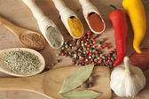 Hot spices herbs and vegetables on desk in kitchen — Stock Photo