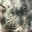 Stock Photo: Abstract grunge wall on cemetery with shield and sword