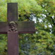 Stock Photo: Cross on cemetery vintage background