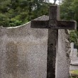 Stock Photo: Cross on cemetery and empty tombstone background