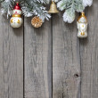Christmas tree baubles background on vintage wooden boards — Stock Photo