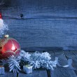 Royalty-Free Stock Photo: Christmas vintage background with candle and bauble in night