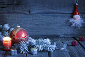 Jul vintage bakgrund med ljus och småsak i natt — Stockfoto
