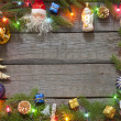 Christmas background border with baubles and lights — Stock Photo