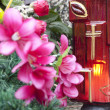 Light candle on cemetery — Stock Photo