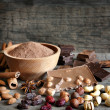 Chocolate nuts cocoa and ingredients — Stock Photo