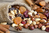 Nuts and dried fruits mix — Stock Photo