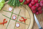 Diet concept hazardous game for health tic tac toe — Stock Photo