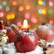 Christmas food apples on snow closeup and blurred background — Stock Photo #14078959