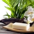 Royalty-Free Stock Photo: Spa soap and white orchids on stone against palm