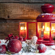 Christmas baubles and lantern in night vintage background — Stockfoto