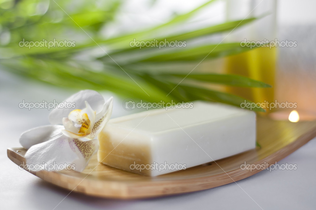 Spa soap and orchid closeup on blurred background  — Stock Photo #14727611