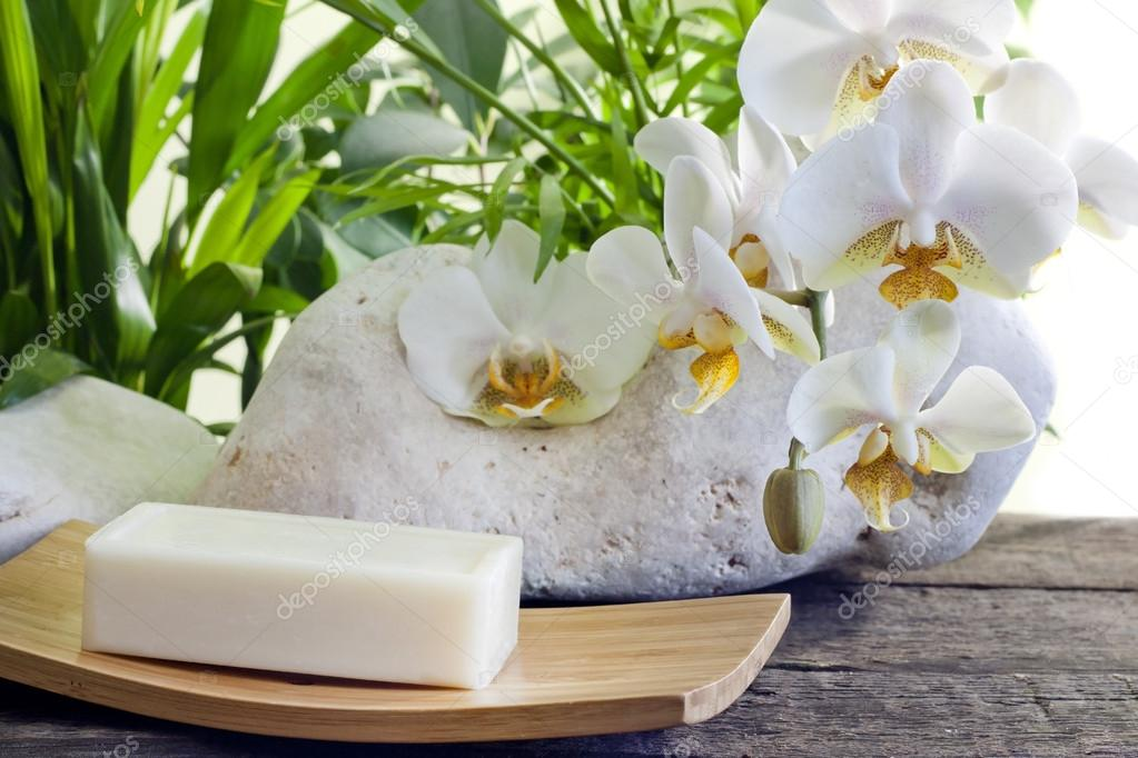Spa soap orchids and stones on white background with palm  — Stock Photo #14728103