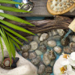 Falling water on stones spa concept background with orchids and bamboo — Stock Photo #14967389
