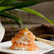 Sushi nigiri salmon closeup like zen stones — Stock Photo