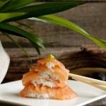 Sushi nigiri salmon closeup like zen stones — Stock Photo #15609873