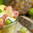 Fresh fruits salad in bowl in kitchen closeup — Stock Photo