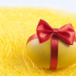 Easter yellow egg in red ribbon like gift abstract concept — Stock Photo