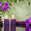 Zen stones orchid aromatic candles and towel spa concept — ストック写真