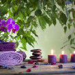 Stock Photo: Spa still life with zen stones aromatic candles and orchids