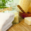 Bath salt and towel on bamboo mat spa concept still life — Foto de Stock