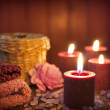 Постер, плакат: Spa concept in night with candles still life