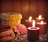 Spa concept in night with candles still life — Stock Photo