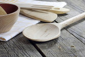Old retro kitchenware on wooden boards — Stock Photo
