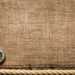 Old wooden planks and rope with compass vintage background — Stock fotografie