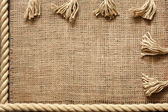 Rope and jute old vintage background concept on boards — Stock Photo