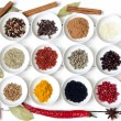 Spices and dried vegetables on vintage white planks - Stockfoto