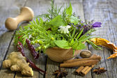 Fresh herbs and spices on vintage wooden boards closeup — Stock Photo