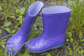 Wellingtons in spring rainy day on green grass — Stock Photo
