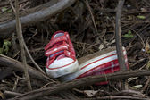 Forensics and investigation kid shoes in the forest — Stock Photo