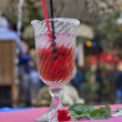 Margarita cocktail with strawberry in restaurant outdoor — Stock Photo